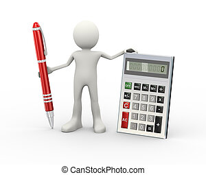 3d man with calculator and pen