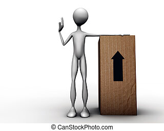 3d man with cardboard box