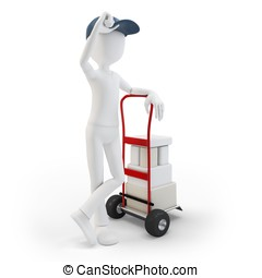 3d man with cart and boxes