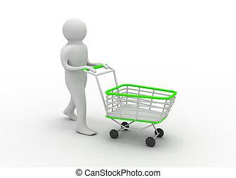 3d man with cart