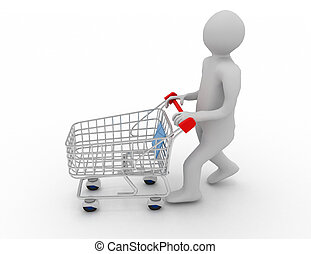 3d man with cart.shopping concept