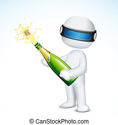 3d Man with Champagne Bottle