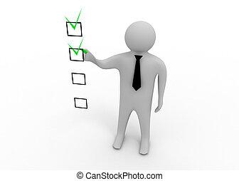 3d man with checklist