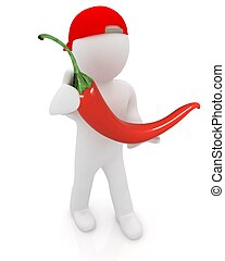 3d man with chili pepper