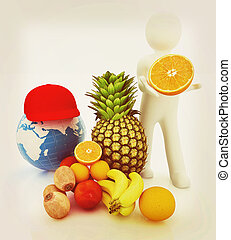 3d man with citrus and earth . 3D illustration. Vintage style.