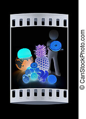 3d man with citrus and earth. The film strip