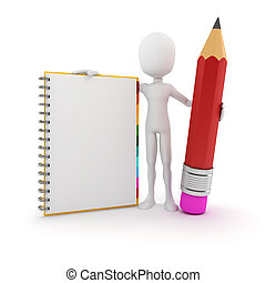 3d man with clipboard and pencil on white background