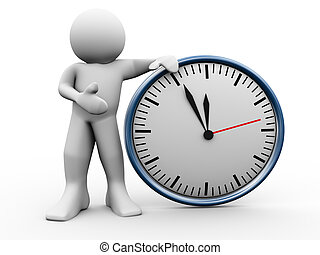 3d man with clock - 3d render of man standing with clock. 3d...