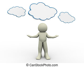 3d man with cloud