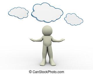 3d man with cloud