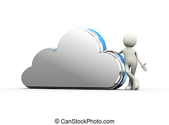 3d man with cloud computing concept