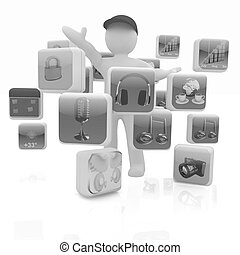 3d man with cloud of media application Icons