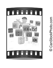 3d man with cloud of media application Icons. The film strip...