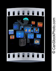 3d man with cloud of media application Icons. The film strip