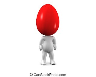 3D Man with Colored Easter Egg head