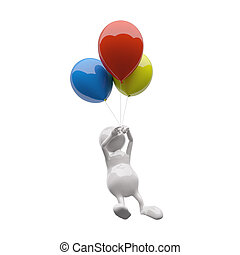 3D Man with colorful balloons on white background