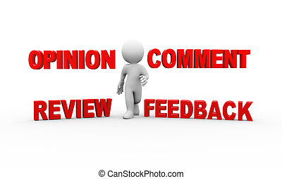 3d man with comment feedback opinion