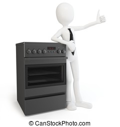 3d man with cooker stove isolated on white