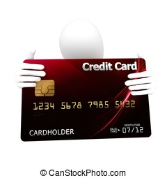 3d man with credit card