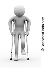 3d man with crutches - 3d illustration of person walkingn...