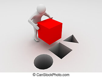 3d man with cube