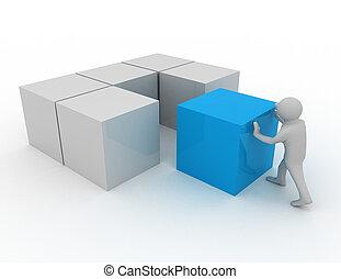 3d man with cubes