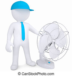 3d man with a desktop fan. Isolated render on a white background