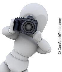 3D man with digital camera
