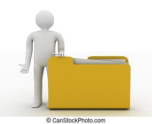 3d man with document folder.