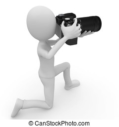 3d man with DSLR camera isolated on white