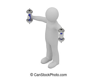 3d man with dumbbells