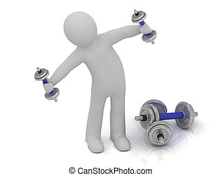 3d man with dumbbells does exercise leaning sideways