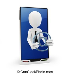 3d man with email symbol and generic smartphone