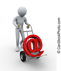 3d man with email symbol hand truck