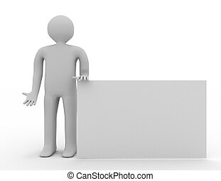 3d man with empty board on white background