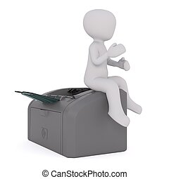 3d man with fax machine 63