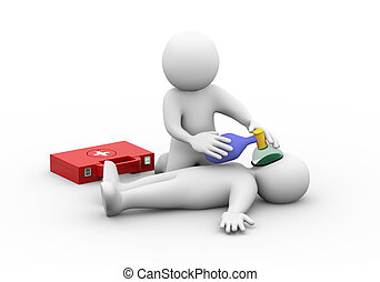 3d man with first aid box providing manual oxygen with pump