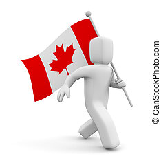 3d man with flag on Canada. Isolated on white