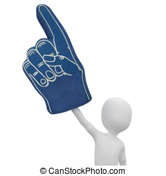 3d man with foam finger isolated on white