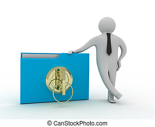 3d man with folder and key