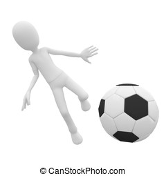 3d man with football ball