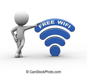 3d man with free wifi word wireless symbol icon