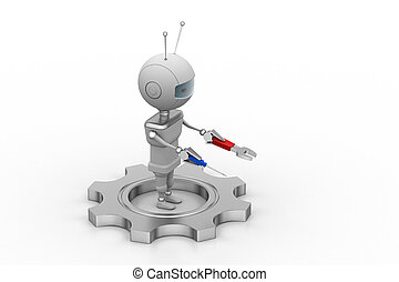 3d man with gears