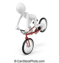 3d man with generic stunt bike