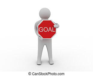 3d man with goal sign