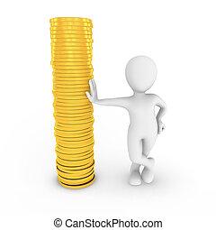 3d man with golden coins.