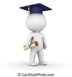 3D Man with graduation cap and dipl