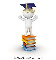 3D Man with graduation cap standing