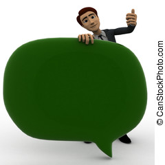 3d man with green chat bubble concept