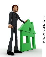 3d man with green home concept